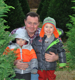The Vandiver Family posing in the Christmas Tree fields at New Castle Christmas Tree Farm near Forrest City, Arkansas.